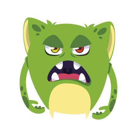 lustiges Monster-Comic-Charakter-Avatar-Vektor-Illustrationsdesign