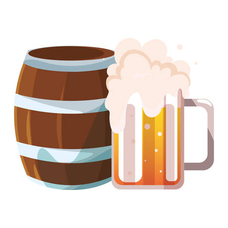 barrel and mug of beer in white background vector illustration design  イラスト・ベクター素材