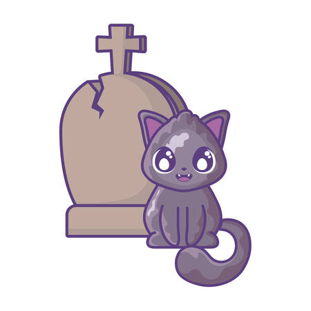 cute cat with graveyard tombstone on white background vector illustration design Illustration