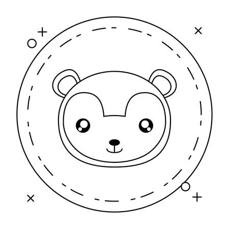 cute little monkey baby in frame circular vector illustration design