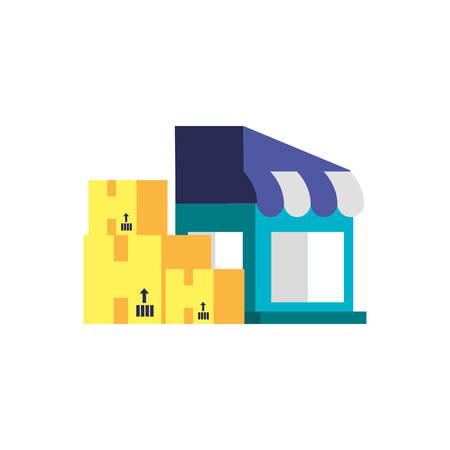 store facade with boxes carton vector illustration design
