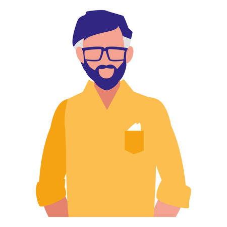 Avatar man with casual clothes over white background, vector illustration