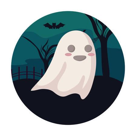 ghosts mysteries over halloween scene, vector illustration Ilustração