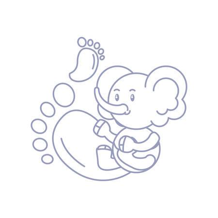 cute elephant baby and footprints decoration vector illustration design Illustration