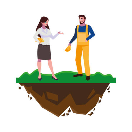 male builder constructor with woman engineer vector illustration design