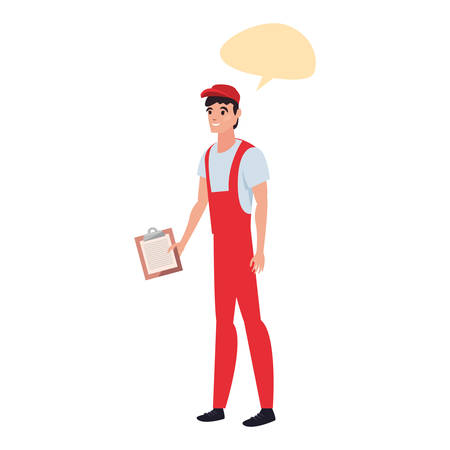delivery man with clipboard talk bubble vector illustration