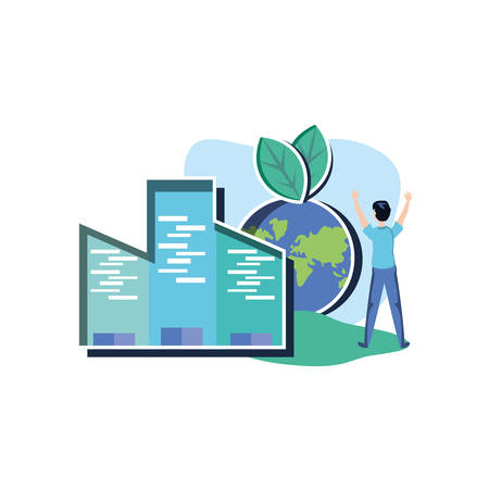 Avatar man design, Sustainability eco friendly green recycle ecology renewable and solution theme Vector illustration Banque d'images - 136597215