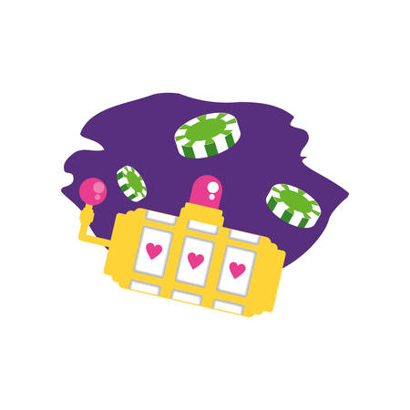 casino games chips with slots machine vector illustration design