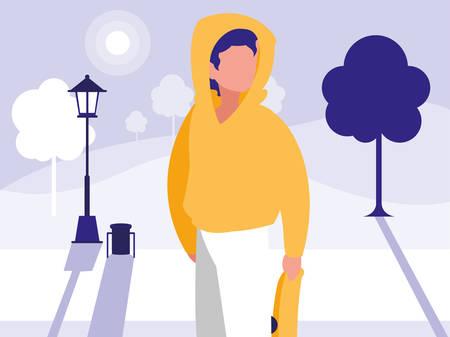 Man design, Park nature outdoor season spring and summer theme Vector illustration