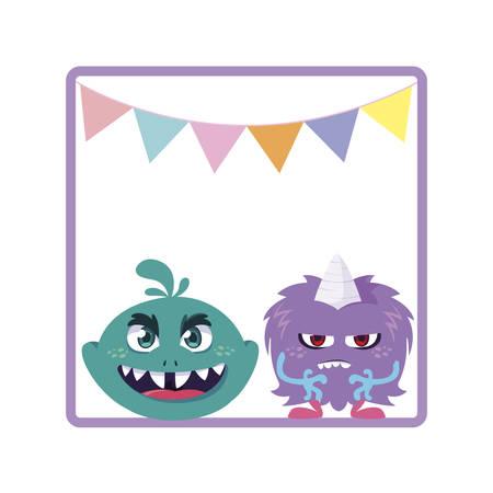 square frame with funny monsters and garlands hanging vector illustration design Vektorgrafik