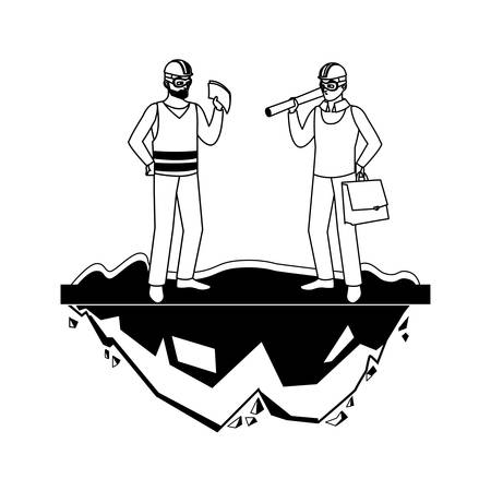 male builder constructor worker with architect boss vector illustration design