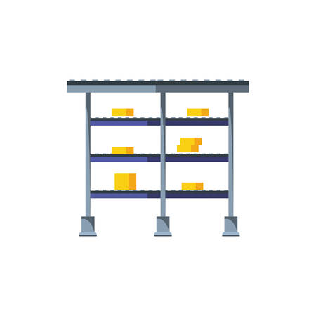 warehouse shelving metalic with boxes vector illustration design