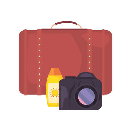 summer time holiday sunblock suitcase camera vector illustration
