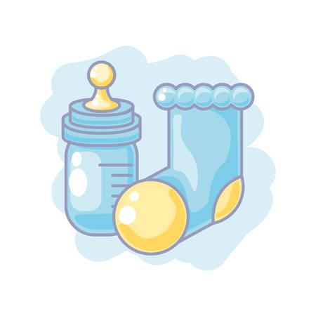 cute bottle milk with sock baby vector illustration design Illustration