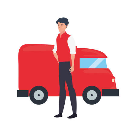 man box with delivery truck logistic vector illustration  イラスト・ベクター素材
