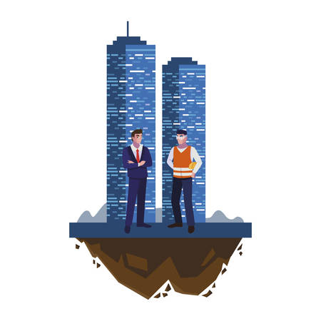 builder constructor with engineer and building vector illustration design 向量圖像