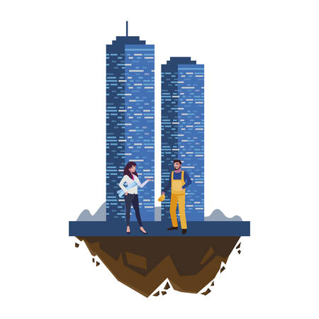 male builder constructor with woman engineer and building vector illustration