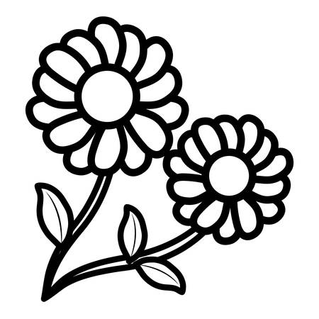 beautiful flowers icon over white background, vector illustration