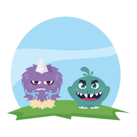 funny monsters couple in the field characters colorful vector illustration design Çizim