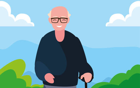 grandfather character family member outdoors vector illustration