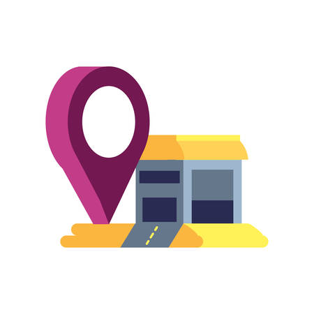 warehouse building with pin location vector illustration design