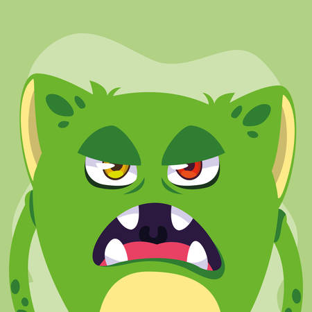 Monster cartoon design, Creature face emoticon caricature halloween character and mutant theme Vector illustration