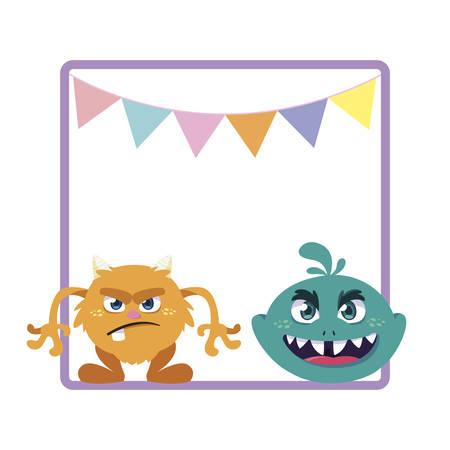 square frame with funny monsters and garlands hanging vector illustration design Çizim