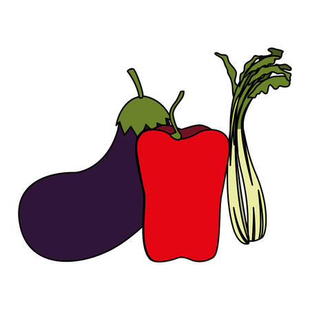 Vegetables set design, organic food healthy fresh natural market and product theme Vector illustration