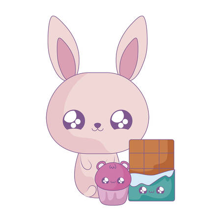 cute rabbit baby with chocolate bar and cupcake   style vector illustration design Illustration