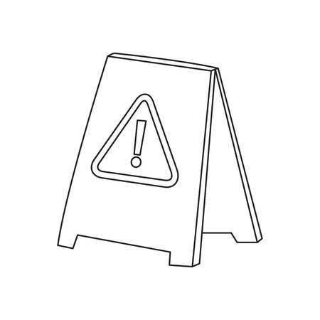 warning board on white background vector illustration outline