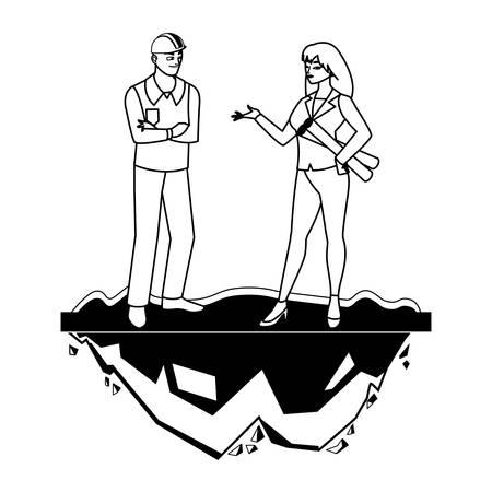 Constructor constructor masculino con mujer ingeniero, diseño de ilustraciones vectoriales