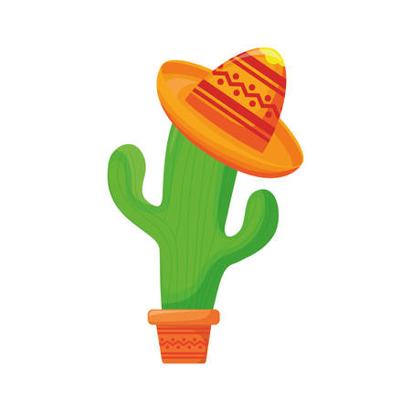 cute cactus with mexican hat in white background vector illustration design Ilustração
