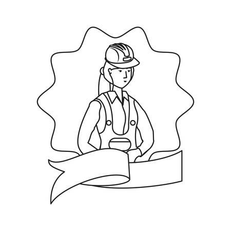 female builder worker avatar character vector illustration design