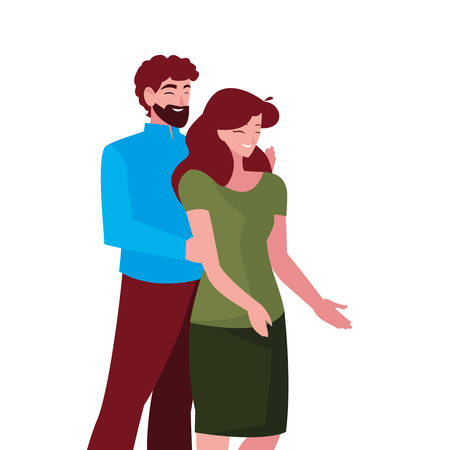 couple together characters on white background vector illustration