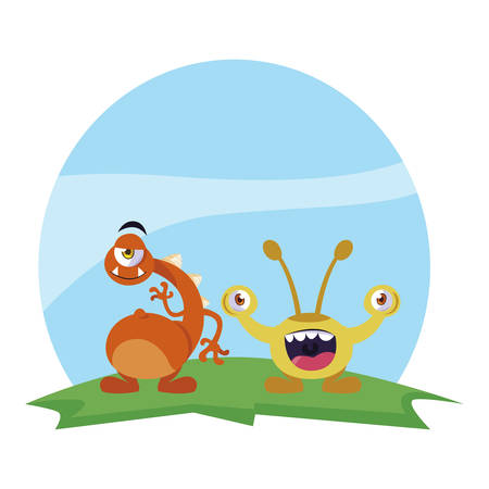 funny monsters couple in the field characters colorful vector illustration design