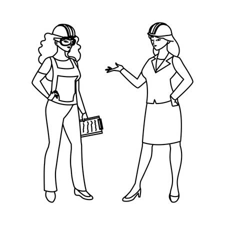 female builder and engineer woman vector illustration design