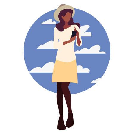 young woman using smartphone social media vector illustration