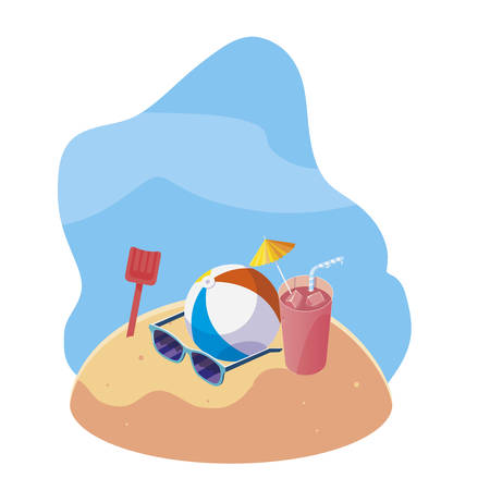 summer sand beach with balloon toy and icons vector illustration design