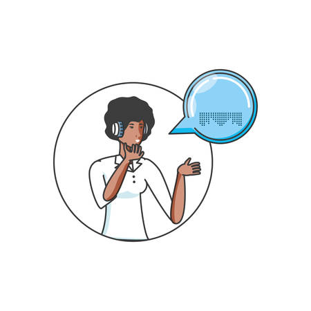 cute young woman with earphones and speech bubble vector illustration design Иллюстрация