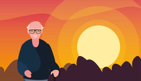 grandfather standing outdoors sunset landscape vector illustration