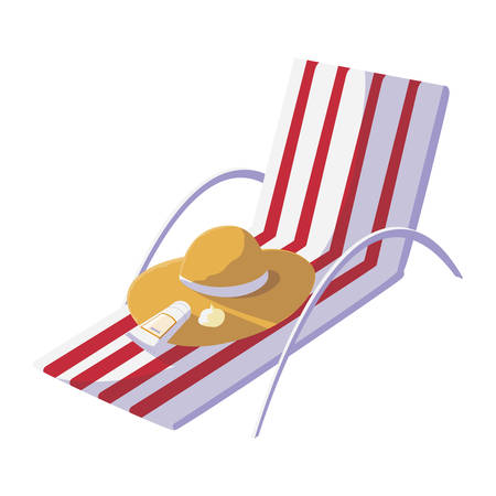 summer beach chair with straw hat and blocker vector illustration design
