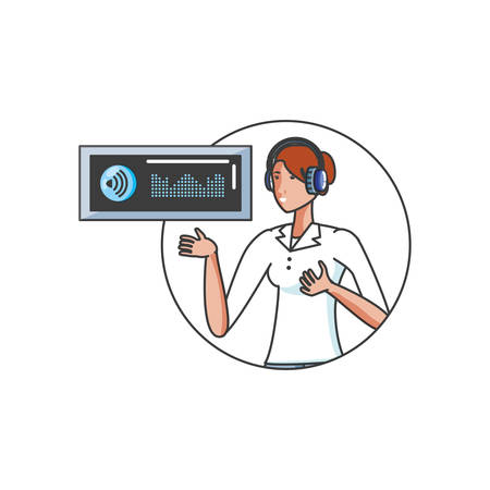 cute young woman with earphones and player display vector illustration design Иллюстрация