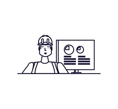Diseño de trabajador, ocupación de trabajo, persona, trabajo, empleado corporativo y tema de servicio, ilustración vectorial Ilustración de vector