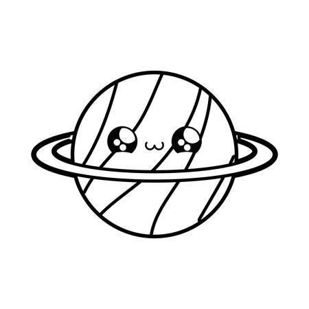 cute planet saturn kawaii style vector illustration design Vector Illustration