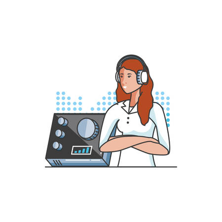 cute young woman with earphones and audio console vector illustration design Иллюстрация