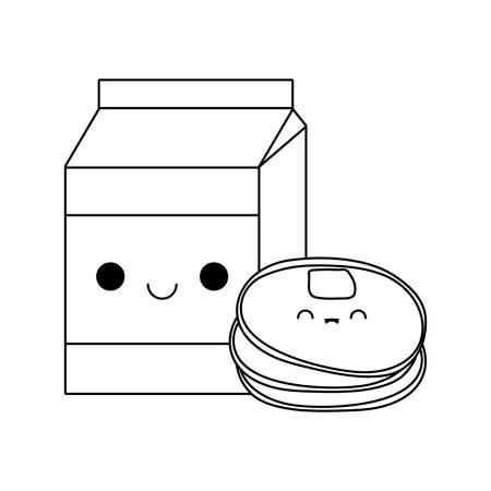 fresh pancakes with box milk kawaii style vector illustration design