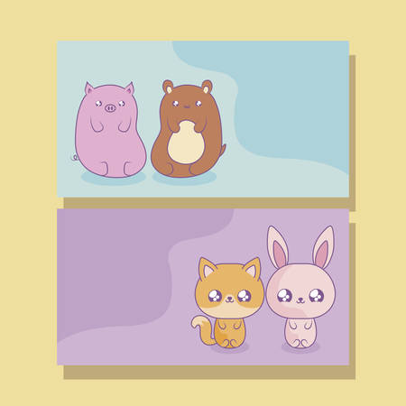 group of cute animals baby kawaii style vector illustration design