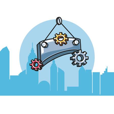 label metal hanging with gears pinions vector illustration design Ilustração