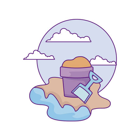 bucket and shovel toy in the beach vector illustration design