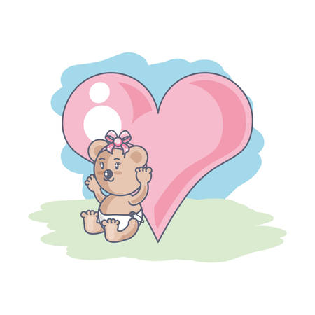 cute female bear baby and heart love vector illustration design